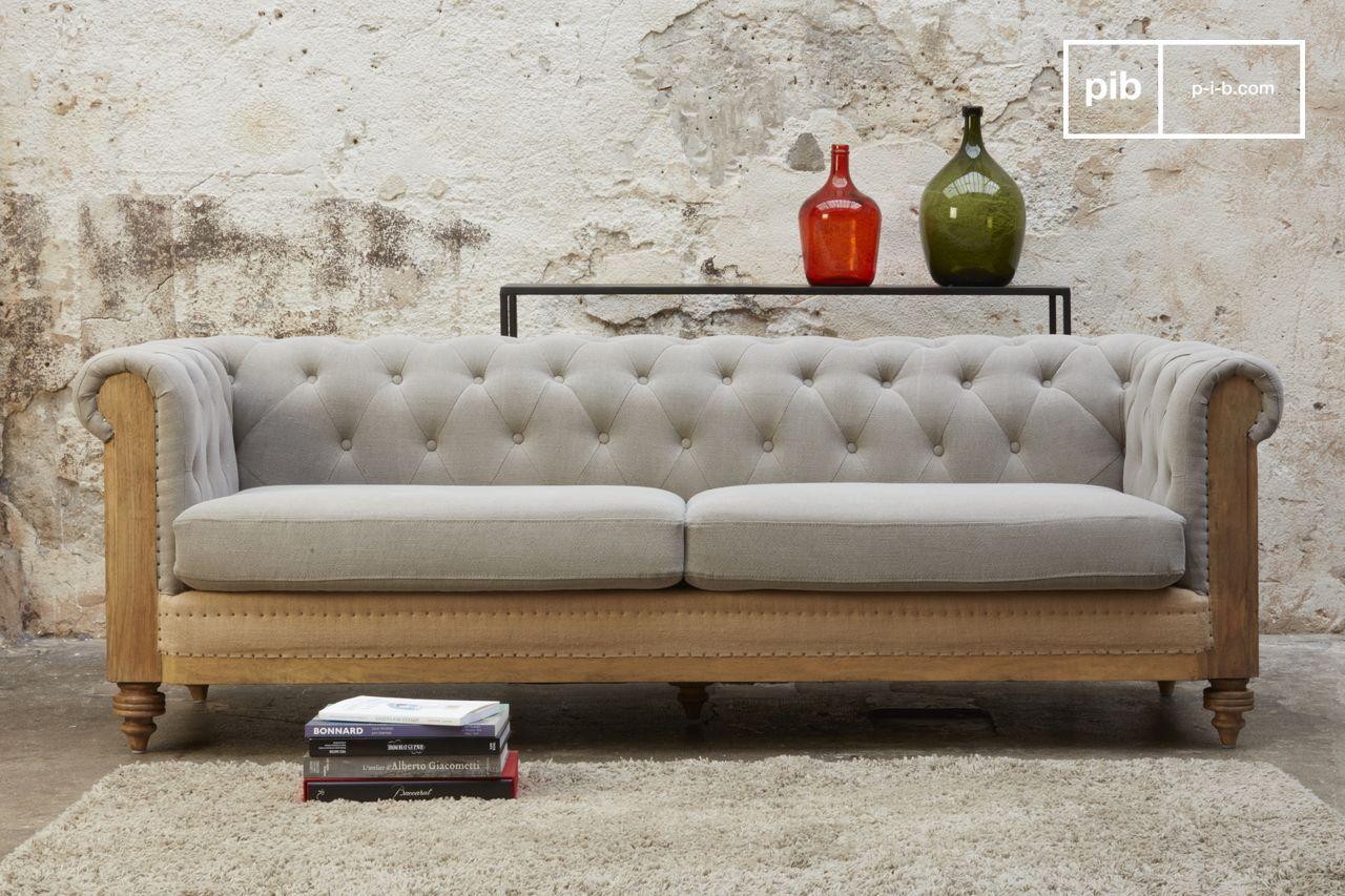 Canapé En Toile De Jute grand canapé chesterfield montaigu gris
