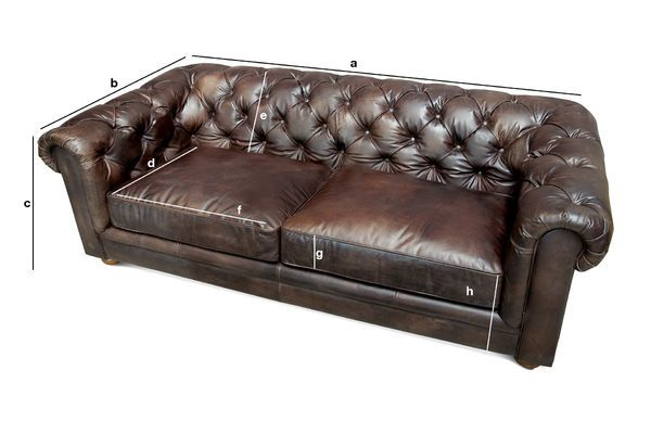 Dimensions du produit Grand canapé Dark Chesterfield