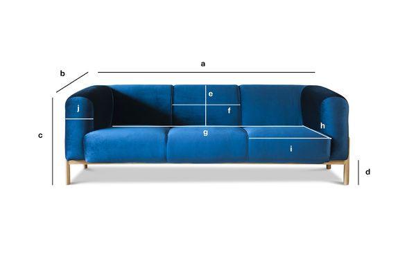Dimensions du produit Grand canapé en velours Viela