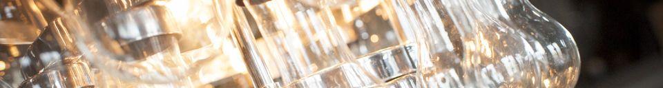 Mise en avant matière Grand lustre en verre Mille Goutes