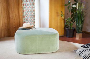 Grand pouf en velours vert Skagen