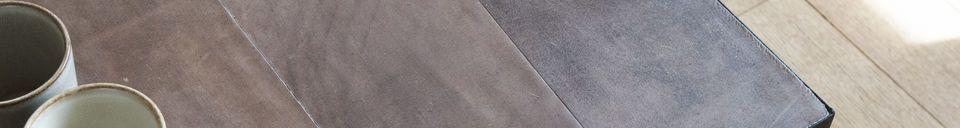 Mise en avant matière Grande table basse en cuir Rothmann