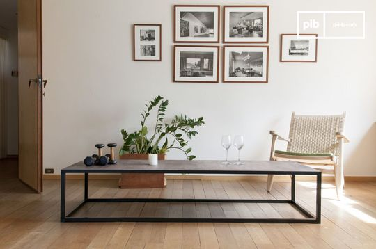 Grande table industrielle basse en cuir rothmann