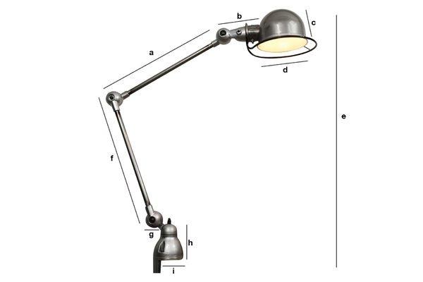 Dimensions du produit Lampe Jieldé Loft à étau