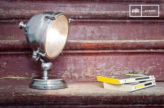 Lampe industrielle phare argentée