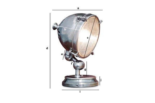 Dimensions du produit Lampe phare argentée