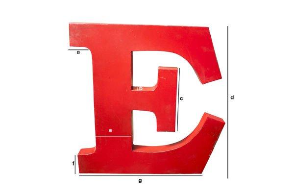 Dimensions du produit Lettre d'enseigne E