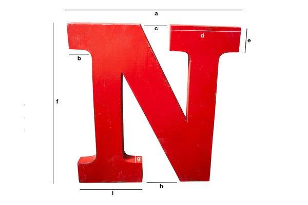Dimensions du produit Lettre d'enseigne N