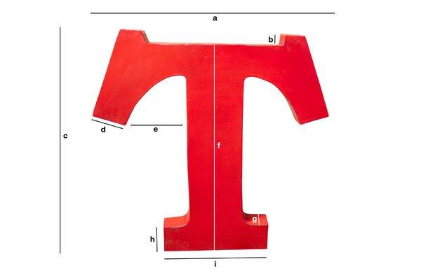 Dimensions du produit Lettre d'enseigne T