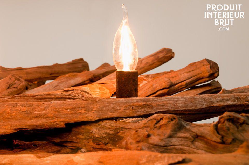 Un lustre 5 bras en bois ancien