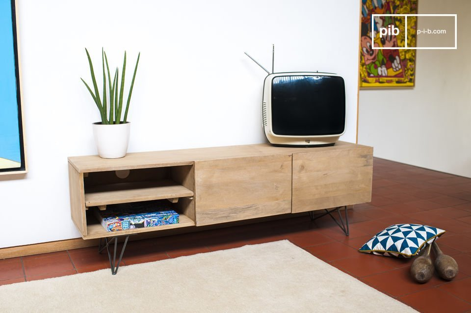 meuble tv en bois zurich bois clair et esprit r tro pib. Black Bedroom Furniture Sets. Home Design Ideas