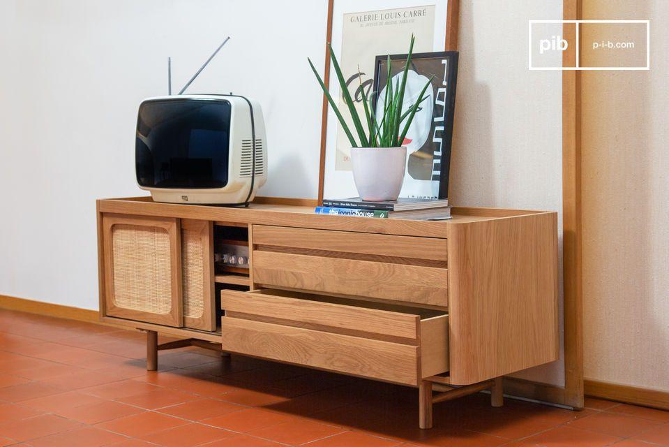 Inspiré des années 50, ce meuble TV dispose de deux grands tiroirs sur roulements à billes