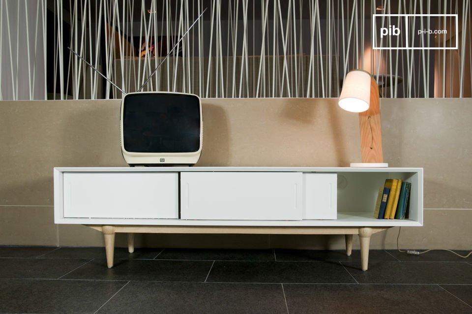 Optez pour un meuble TV qui allie la praticité d\'une conception moderne et l\'élégance d\'une ligne issue dumobilier scandinave vintage