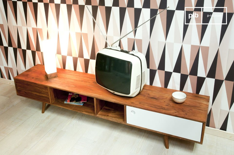 Meuble tv scandinave stockholm style ann es 50 pib for Meuble des annees 50