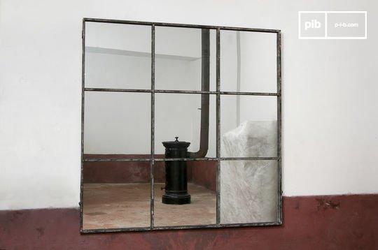 Miroir de style vintage industriel carré 9 sections