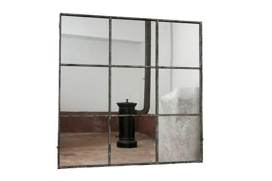 Miroir industriel carr 9 sections m tal gris patin pib for Miroir industriel