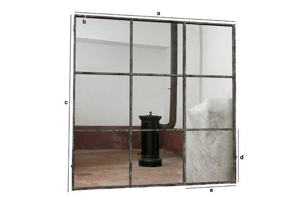 Miroir industriel carr 9 sections m tal gris patin pib for Grand miroir carre