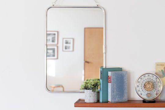 Miroir de style vintage rétro à cadre argenté sonia