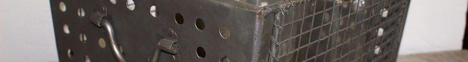 Mise en avant matière Panier métallique grillagé
