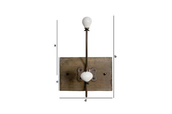 Dimensions du produit Patère céramique double-crochet