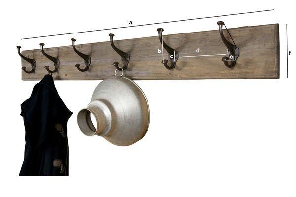 Dimensions du produit Patère géante bois-métal