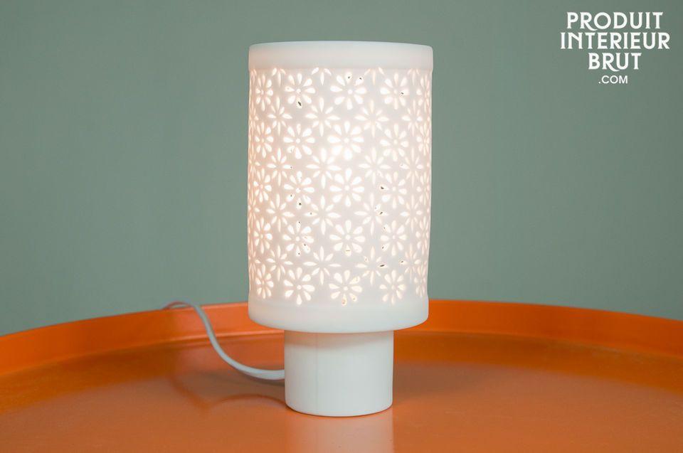 Petite lampe porcelaine Flowers