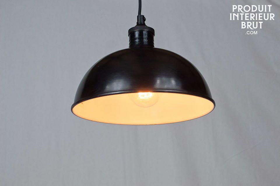 Lampe à suspendre en métal noir satiné