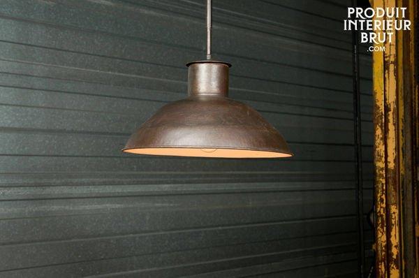 Plafonnier Industriel Patiné Sombre detail