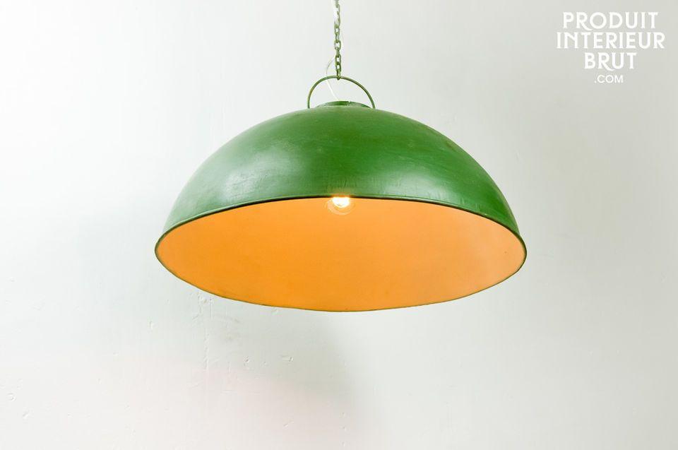 Plafonnier industriel vert patiné