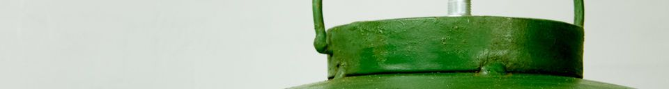 Mise en avant matière Plafonnier industriel vert patiné