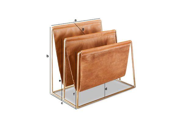 Dimensions du produit Porte-revue en cuir et laiton Jorgen