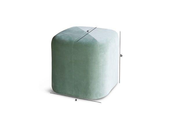Dimensions du produit Pouf en velours vert Skagen