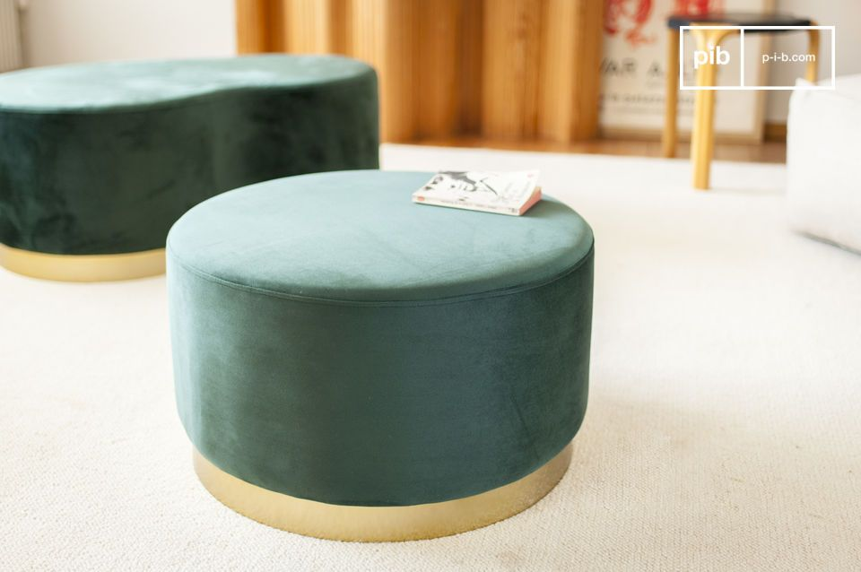 Pouf laiton et velours Dallas