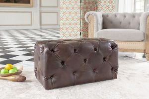 Pouf rectangulaire capitonné Dark Chesterfield