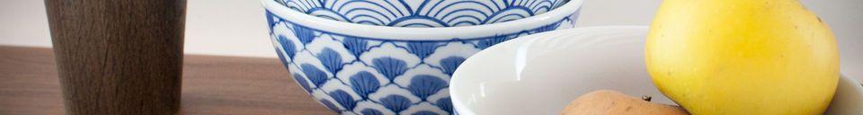 Mise en avant matière Quatre bols en porcelaine Blue Lagoon