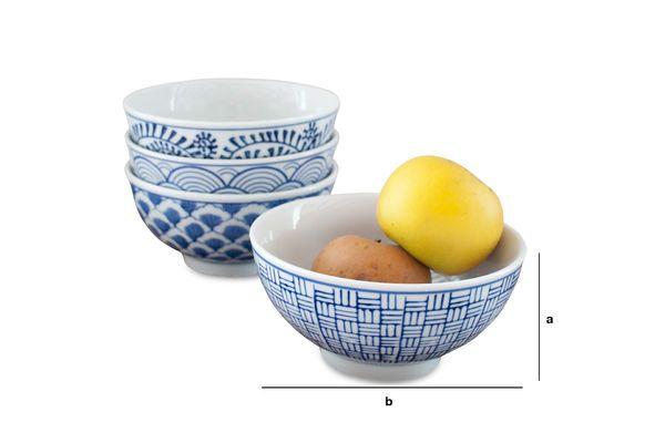 Dimensions du produit Quatre bols en porcelaine Blue Lagoon