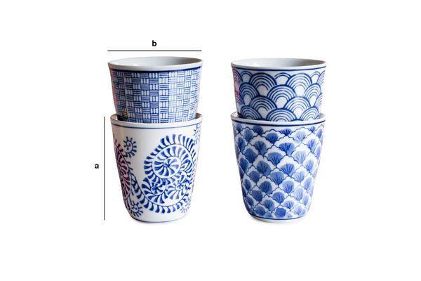Dimensions du produit Quatre tasses en porcelaine Blue Lagoon