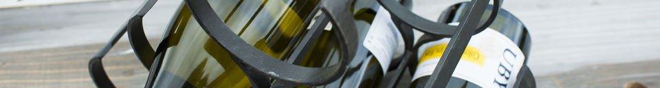 Mise en avant matière Rangement 6 bouteilles en métal