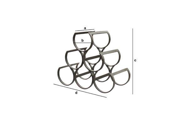 Dimensions du produit Rangement 6 bouteilles en métal