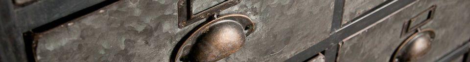 Mise en avant matière Semainier métallique 18 tiroirs