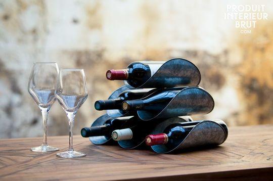 Support de bouteilles en tôle patinée
