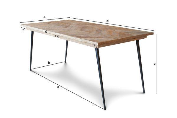 Dimensions du produit Table à pieds compas Tongeren