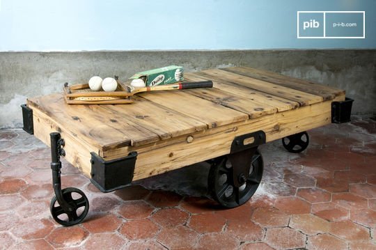 table basse en bois wood wagon - Table Salon Industrielle