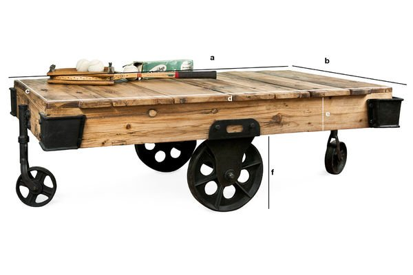 Dimensions du produit Table basse en bois Wood Wagon