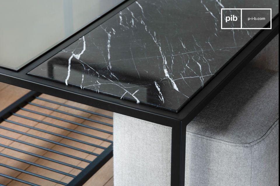 Une table basse au style international avec poufs cubiques encastrables