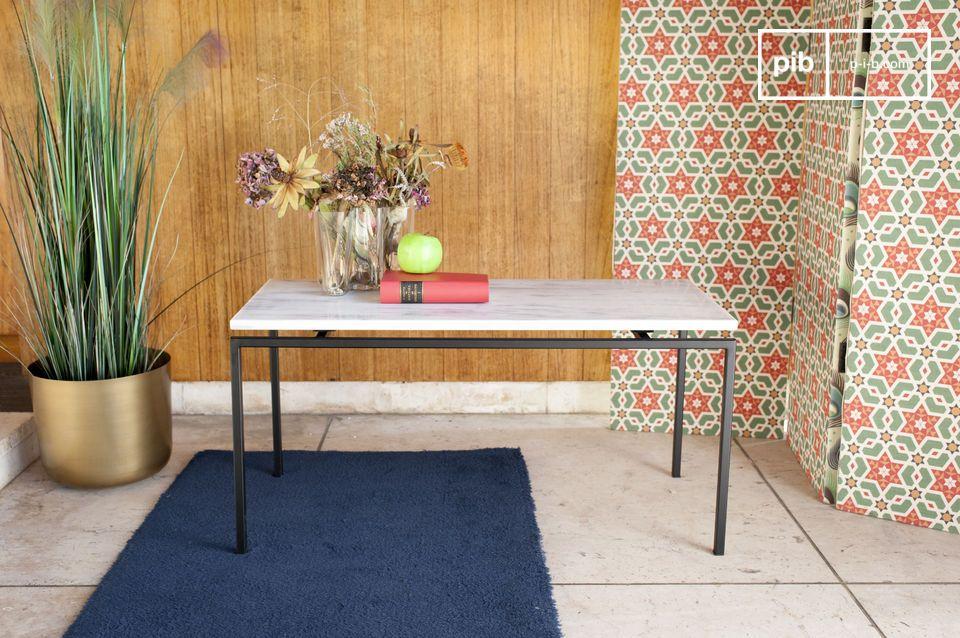 Magnifique table basse rectangulaire au plateau en marbre blanc surélevé