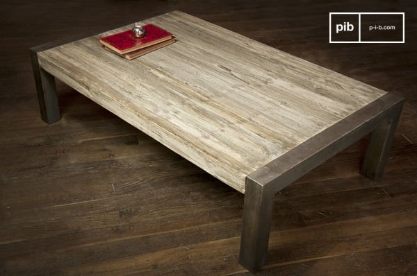 Table Basse Teck Recycle Table Basse Industrielle Pib Luxembourg