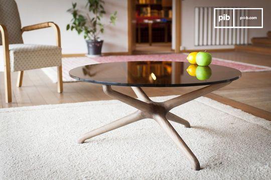 Table basse style vintage en verre nodern
