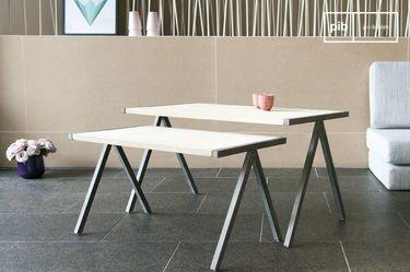 Table basse vintage 2 plateaux aristode style industriel pib - Table basse gigogne industriel ...
