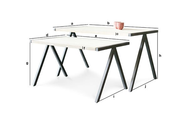 table basse gigogne arlanda bois massif et m tal pib. Black Bedroom Furniture Sets. Home Design Ideas